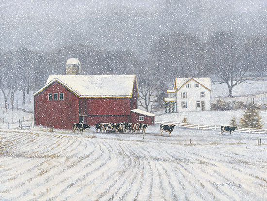 Bonnie Mohr COW103 - The Home Place - Winter, Snow, Barn, Cows, Landscape from Penny Lane Publishing