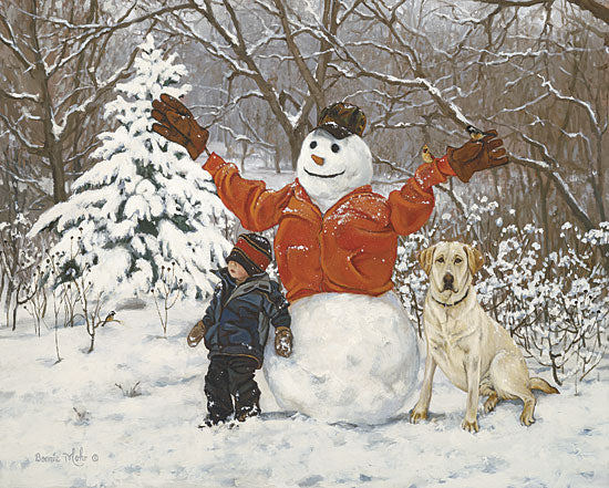 Bonnie Mohr COW115B - Buddies - Snowman, Dog, Child, Snow, Winter, Field from Penny Lane Publishing