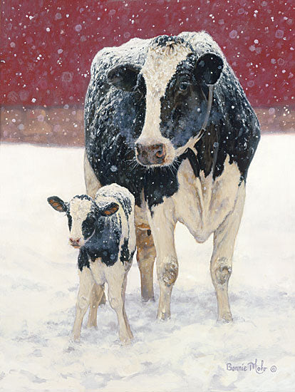 Bonnie Mohr COW146 - First Christmas - Cows, Calf, Barn, Winter, Snow from Penny Lane Publishing