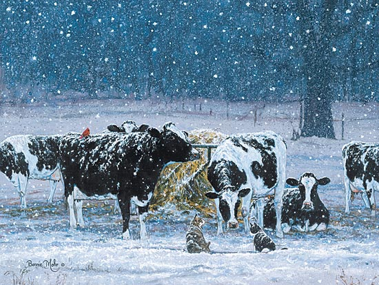 Bonnie Mohr COW159 - One Snowy Night - Snow, Cows, Winter, Pasture, Cats from Penny Lane Publishing