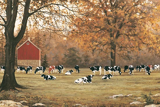 Bonnie Mohr COW177 - Under the Autumn Oaks - Cows, Pasture, Trees, Autumn, Field from Penny Lane Publishing