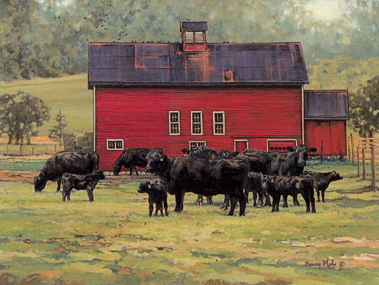 Bonnie Mohr COW219 - By the Red Barn - Cows, Barn, Farm, Landscape from Penny Lane Publishing