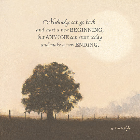 Bonnie Mohr COW225D - New Ending  - Tree, Field, Inspirational, Quote from Penny Lane Publishing