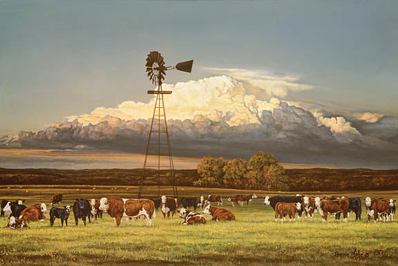 Bonnie Mohr COW227 - Summer Pastures - Windmill, Cows, Mountains, Pasture from Penny Lane Publishing