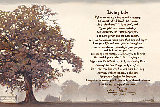 Bonnie Mohr COW240E - Living Life - Tree, Inspiring, Signs, Calligraphy from Penny Lane Publishing