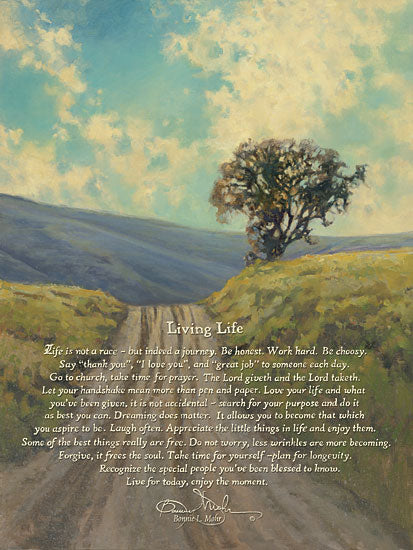 Bonnie Mohr COW301 - Living Life - Inspirational, Path, Landscape, Tree, Clouds from Penny Lane Publishing