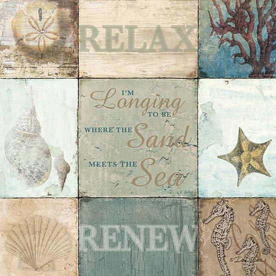 Dee Dee DD106 - Sand & Sea - Relax, Renew, Shells, Seahorse, Signs from Penny Lane Publishing