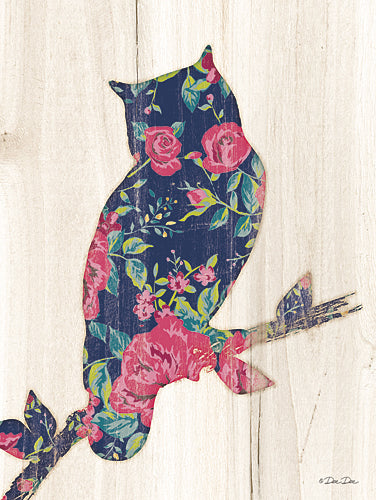 Dee Dee DD1530A - Floral Owl - Wood Planks, Owl, Bird, Floral from Penny Lane Publishing