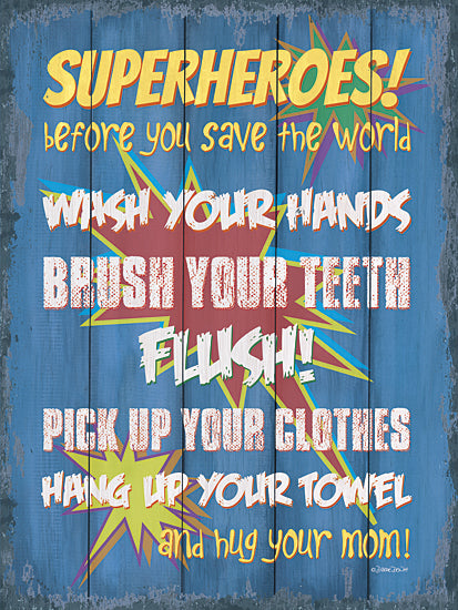 Debbie DeWitt DEW458 - Superheroes Bath II - Superheroes, Bath, Typography, Children from Penny Lane Publishing
