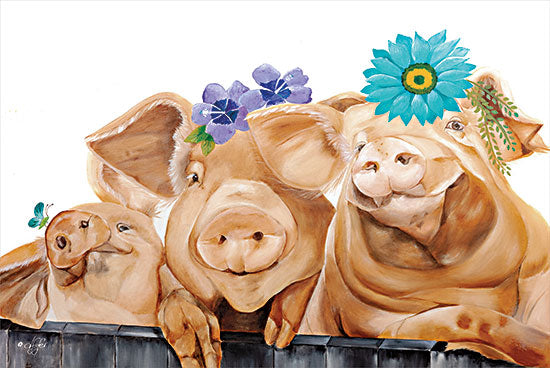 Diane Fifer DF148 - DF148 - Floral Pig Trio - 18x12 Pig, Flowers, Farm Animals, Humorous from Penny Lane