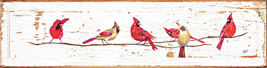 Diane Fifer DF163 - DF163 - Let's Tweet - 18x4 Birds, Cardinals, Branch, Wood Background, Male Cardinals, Female Cardinals from Penny Lane