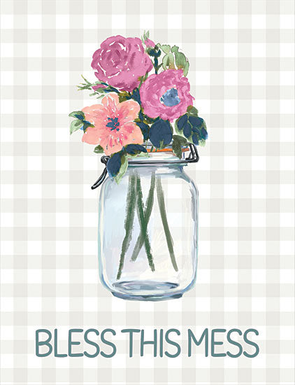 Dogwood Portfolio DOG161 - DOG161 - Bless This Mess Flowers - 12x16 Bless This Mess, Flowers, Jar, Humorous, Plaid, Signs from Penny Lane