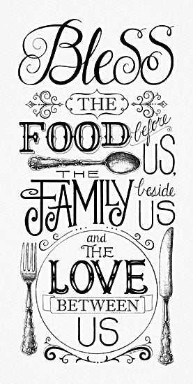 Deb Strain DS1110 - Bless the Food - Kitchen, Table Setting, Black & White from Penny Lane Publishing