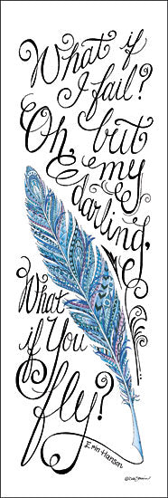 Deb Strain DS1263 - What if I Fail? - Feather, Inspirational, Calligraphy, Quote from Penny Lane Publishing
