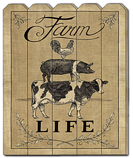 Deb Strain DS1451PF - Farm Life - Farmlife, Farm Animals, Cow, Rooster, Pig, Wood Art, Wood Slats, Picket Fence, Sophisticated from Penny Lane Publishing