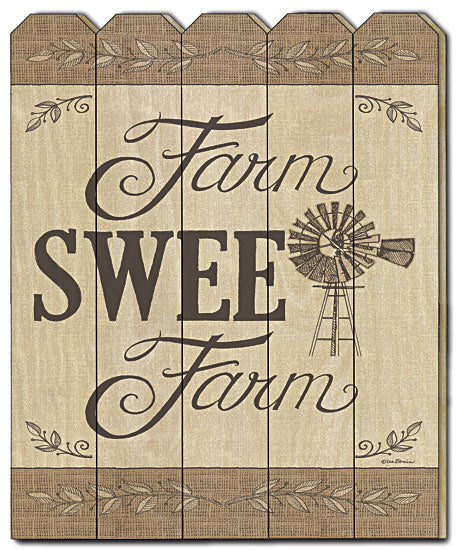 Deb Strain DS1452PF - Farm Sweet Farm - Farm, Windmill, Sophisticated, Sign, Feathers, Wood Art, Traditional from Penny Lane Publishing