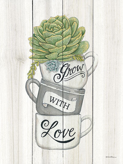 Deb Strain DS1494 - Grow with Love Succulents - Succulents, Coffee Cups, Kitchen from Penny Lane Publishing