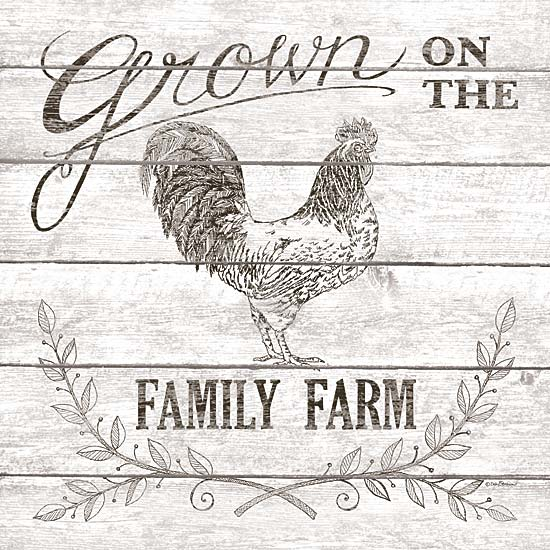 Deb Strain DS1568 - Grown on the Family Farm - Rooster, Sepia, Signs, Farm from Penny Lane Publishing