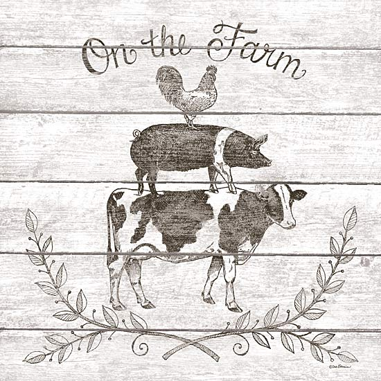 Deb Strain DS1569 - On the Farm Animal Stack - Farm, Signs, Sepia, Cow, Pig, Rooster from Penny Lane Publishing