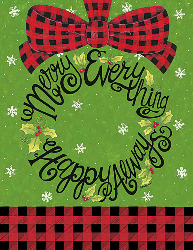 Deb Strain DS1577 - Merry Everything Wreath - Holiday, Signs, Plaid, Typography, Wreath, Bow from Penny Lane Publishing