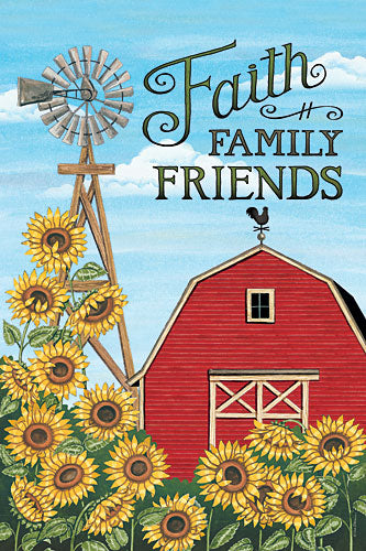 Deb Strain DS1586 - Faith Family Friends Barn - Barn, Sunflowers, Farm, Windmill from Penny Lane Publishing