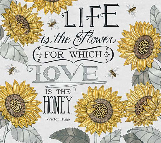 Deb Strain DS1589 - Love is the Honey - Honey, Bees, Sunflowers, Love, Typography from Penny Lane Publishing