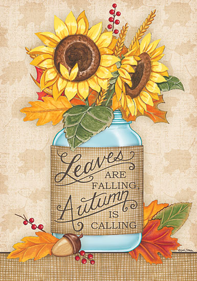Deb Strain DS1594 - Sunflower Jar                - Sunflowers, Autumn, Jar, Burlap, Leaves from Penny Lane Publishing