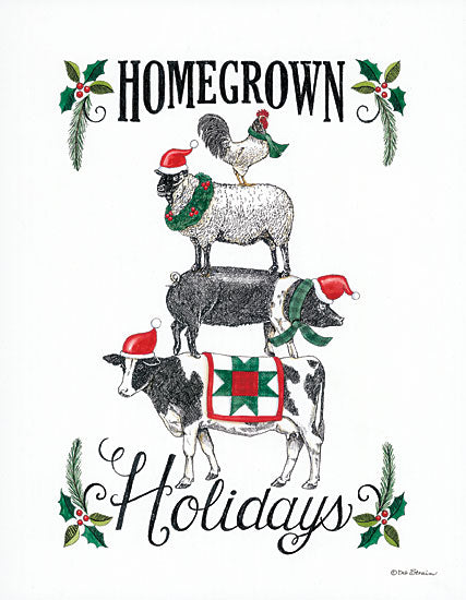 Deb Strain DS1747 - DS1747 - Homegrown Holidays      - 12x16 Signs, Typography, Rooster, Sheep, Pig, Cow, Santa Hats, Christmas from Penny Lane