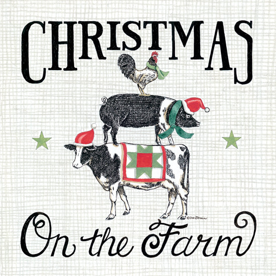 Deb Strain DS1822 - DS1822 - Christmas on the Farm - 12x12 Christmas, Farm, Holidays, Cow, Pig, Rooster, Holidays from Penny Lane