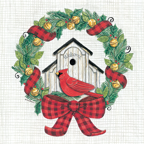 Deb Strain DS1823 - DS1823 - Cardinal Wreath - 12x12 Cardinal, Birdhouse, Wreath, Bells, Red Plaid, Bow, Holidays from Penny Lane