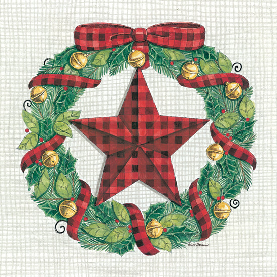 Deb Strain DS1824 - DS1824 - Barnstar Wreath - 12x12 Barn Star, Red and Black Plaid, Wreath, Bells, Bow, Holidays from Penny Lane