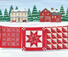 DS1837 - Red & White Quilt Farm - 16x12