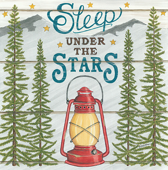 Deb Strain DS1847 - DS1847 - Sleep Under the Stars - 12x12 Signs, Typography, Camping, Lamp, Trees, Mountains from Penny Lane