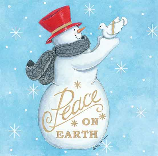 Deb Strain DS1870 - DS1870 - Peace on Earth Snowman - 12x12 Signs, Typography, Snowman, Birds, Scarf, Top Hat from Penny Lane