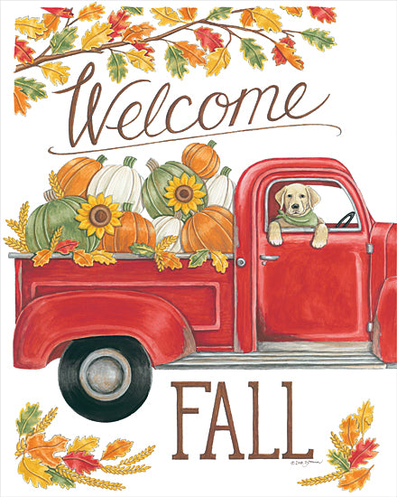 Deb Strain DS1893 - DS1893 - Fall Truck & Lab - 12x16 Signs, Typography, Dog, Welcome Fall, Pumpkins, Sunflowers, Vintage Truck from Penny Lane