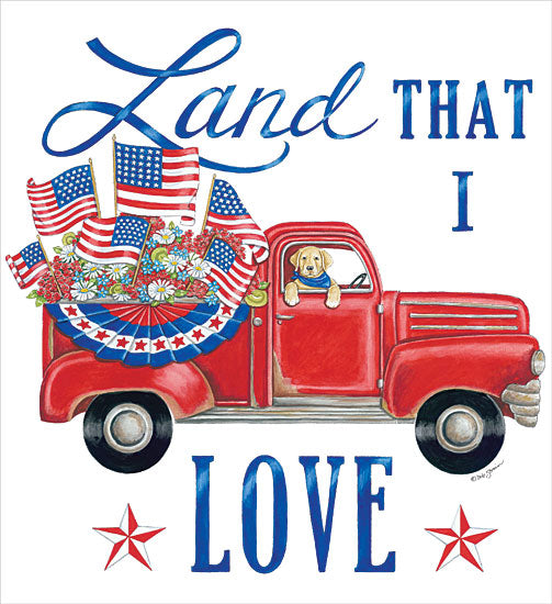 Deb Strain DS1902 - DS1902 - Land That I Love Dog - 12x12 Land That I Love, Red Truck, Dog, Americana, Patriotic, Red, White, Blue, USA, America from Penny Lane