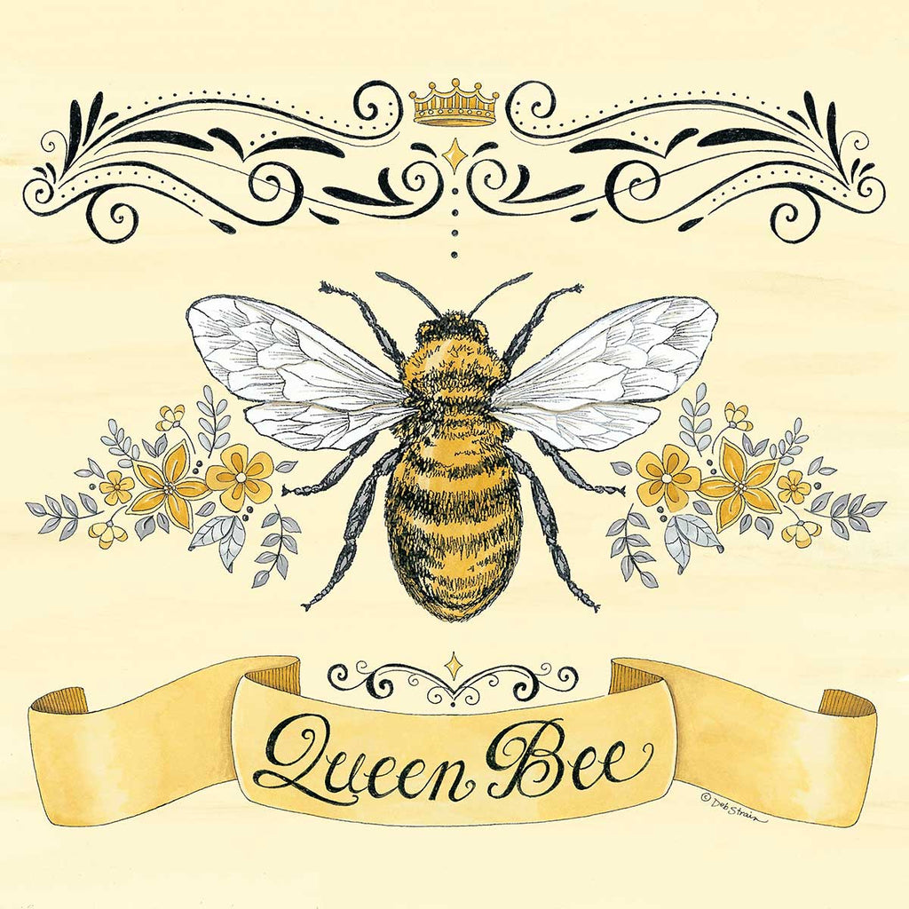 Deb Strain DS1944 - DS1944 - Queen Bee & Flowers - 12x12 Queen Bee, Flowers, Crown, Banner, Signs from Penny Lane