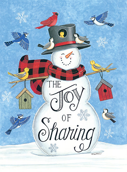 Deb Strain DS1952 - DS1952 - Sharing Snowman & Friends - 12x16 The Joy of Sharing, Snowman, Birds, Winter, Seasons from Penny Lane
