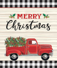 DS1983 - Pinecone Holly Berry Red Truck - 12x16