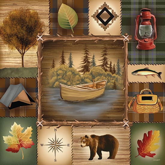 Ed Wargo ED154 - At the Lake  - Collage, Lodge, Lake, Bear, Camping, Icons from Penny Lane Publishing