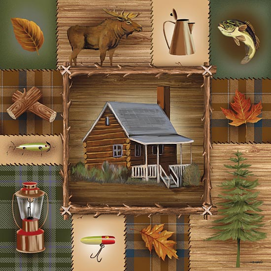 Ed Wargo ED155 - At the Cabin  - Collage, Lodge, Lake, Log Cabin, Camping, Icons from Penny Lane Publishing