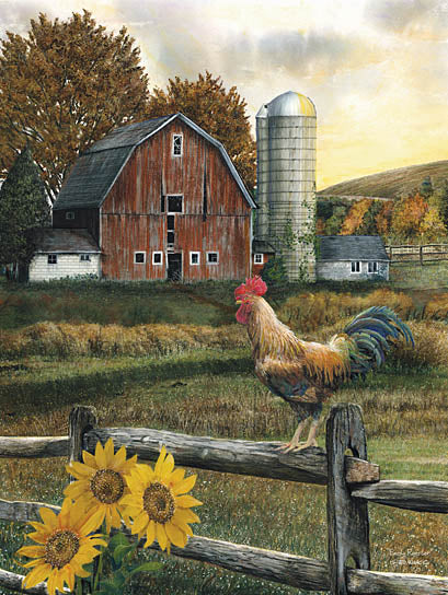 Ed Wargo ED166A - Early Rooster - Rooster, Sunflowers, Barn, Silo, Field, Farm from Penny Lane Publishing
