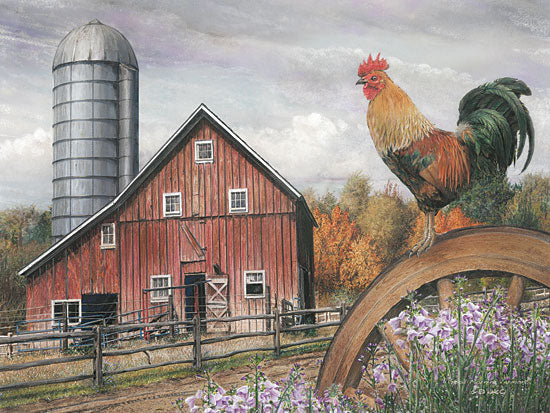 Ed Wargo ED182 - Good Morning Vermont - Rooster, Wagon Wheel, Barn, Silo, Flowers from Penny Lane Publishing