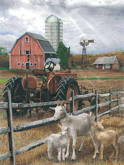 Ed Wargo ED188 - The Old Tractor - Tractor, Goats, Barn, Farm, Field from Penny Lane Publishing