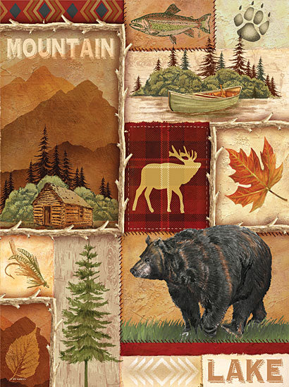 Ed Wargo ED273 - Lodge Collage I - Collage, Bear, Canoe, Moose, Lodge from Penny Lane Publishing