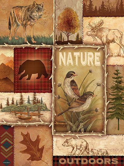Ed Wargo ED274 - Lodge Collage II - Birds, Bear, Leaves, Nature, Lodge from Penny Lane Publishing