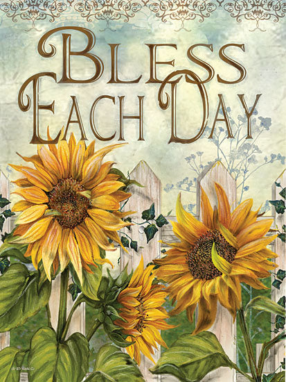 Ed Wargo ED315 - Bless Each Day - Sunflowers, Bless, Fence from Penny Lane Publishing