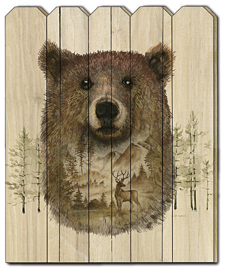 Ed Wargo ED350PF - Bear Wilderness Portrait - Bear, Landscape, Mountains, Wildlife Animals, Wood Slat, Country, Wood Art, Trees, Hunting from Penny Lane Publishing