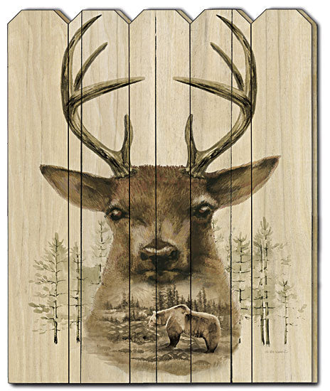 Ed Wargo ED351PF - Deer Wilderness Portrait - Deer, Buck, Hunting, Wildlife, Landscape, Bear, Mountains, Wood Art, Wood Slats, Painting from Penny Lane Publishing
