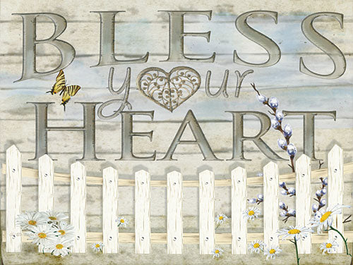 Ed Wargo ED352 - Bless Your Heart - Heart, Signs, Fence, Flowers  from Penny Lane Publishing